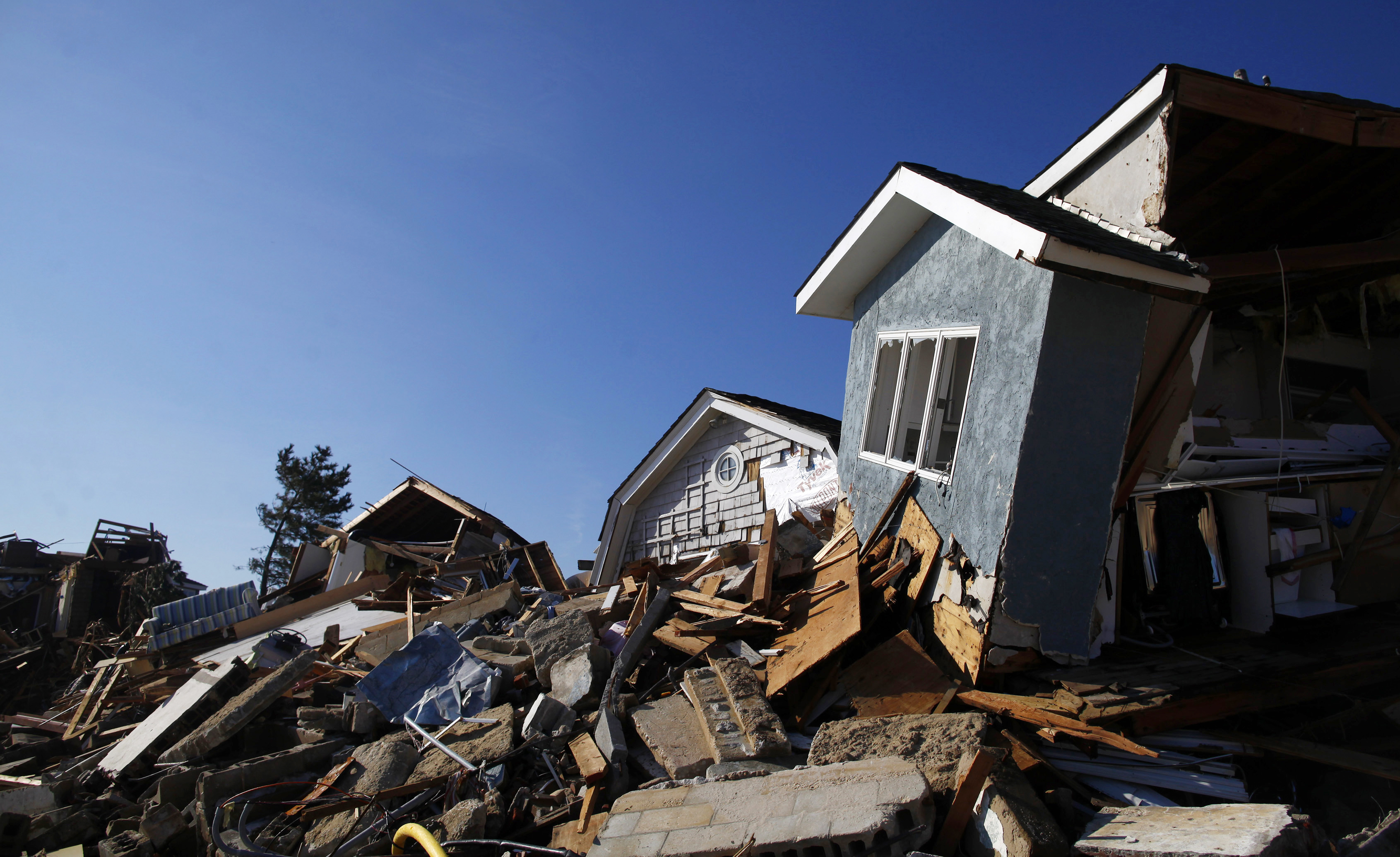 Homes damaged by hurricane