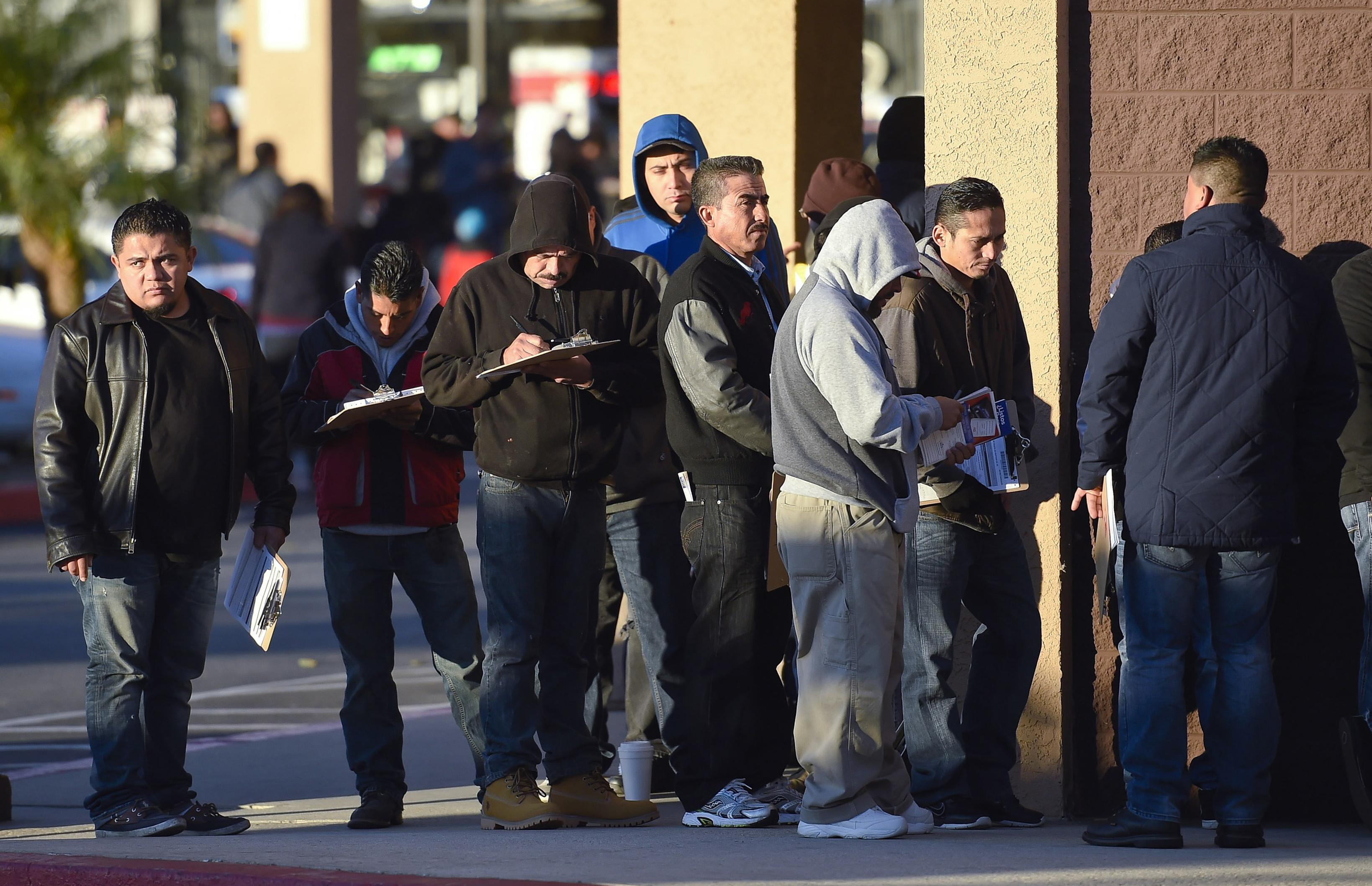 People in line at California DMV