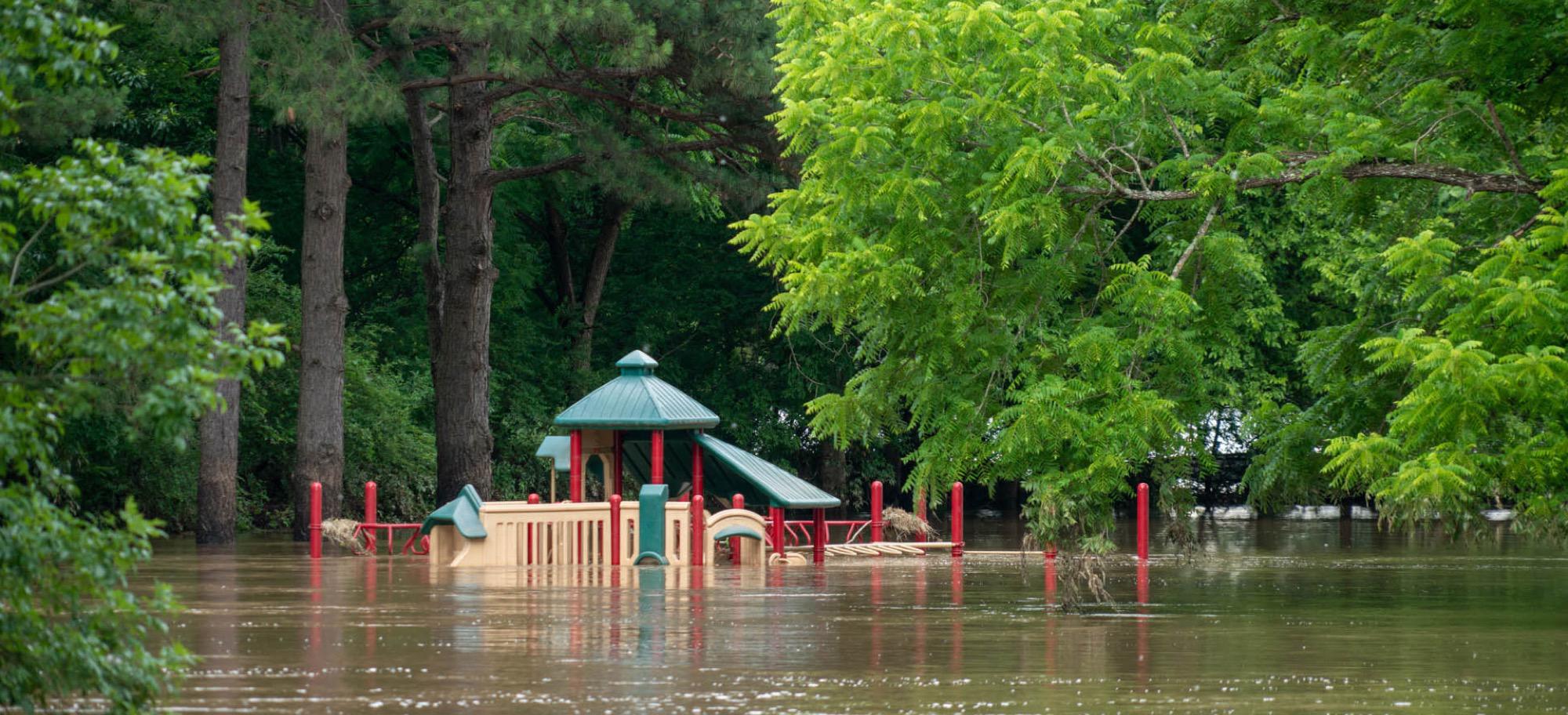 Playground under water after flood