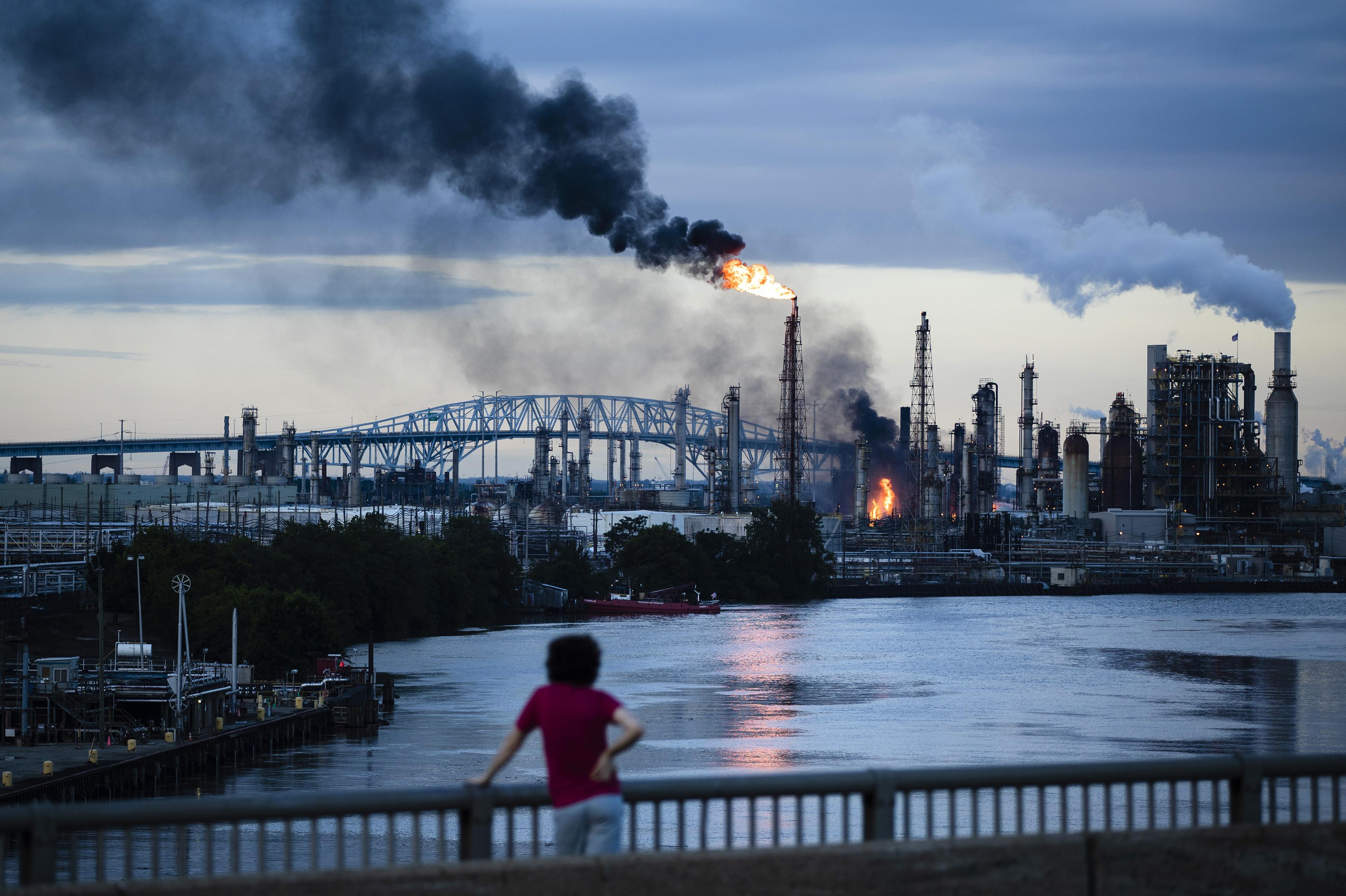 Oil refinery on fire