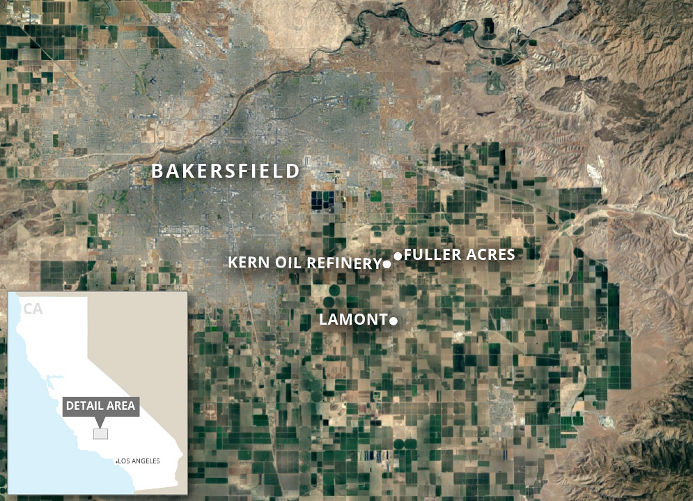 Map showing refinery locations adjacent to Bakersfield, CA