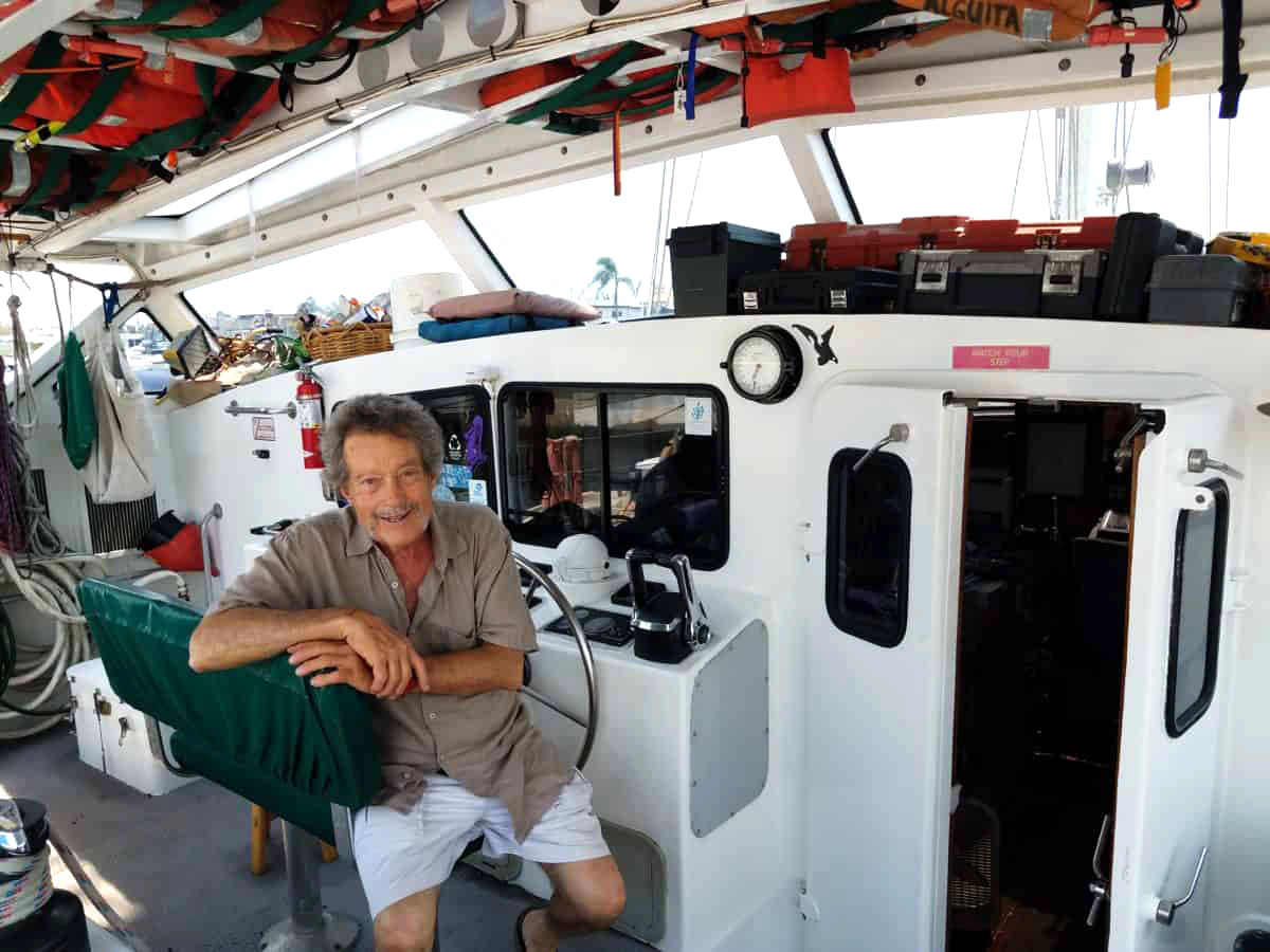 Captain Charles Moore on his research vessel, the Alguita (Myron Levin)