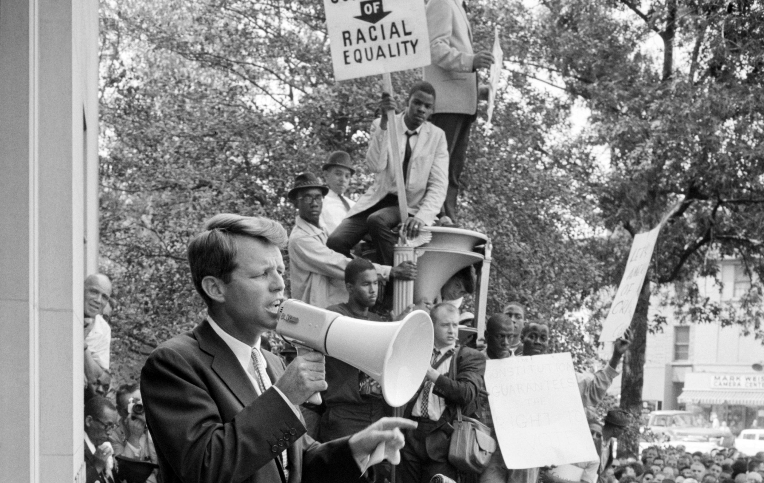 Robert F. Kennedy with megaphone
