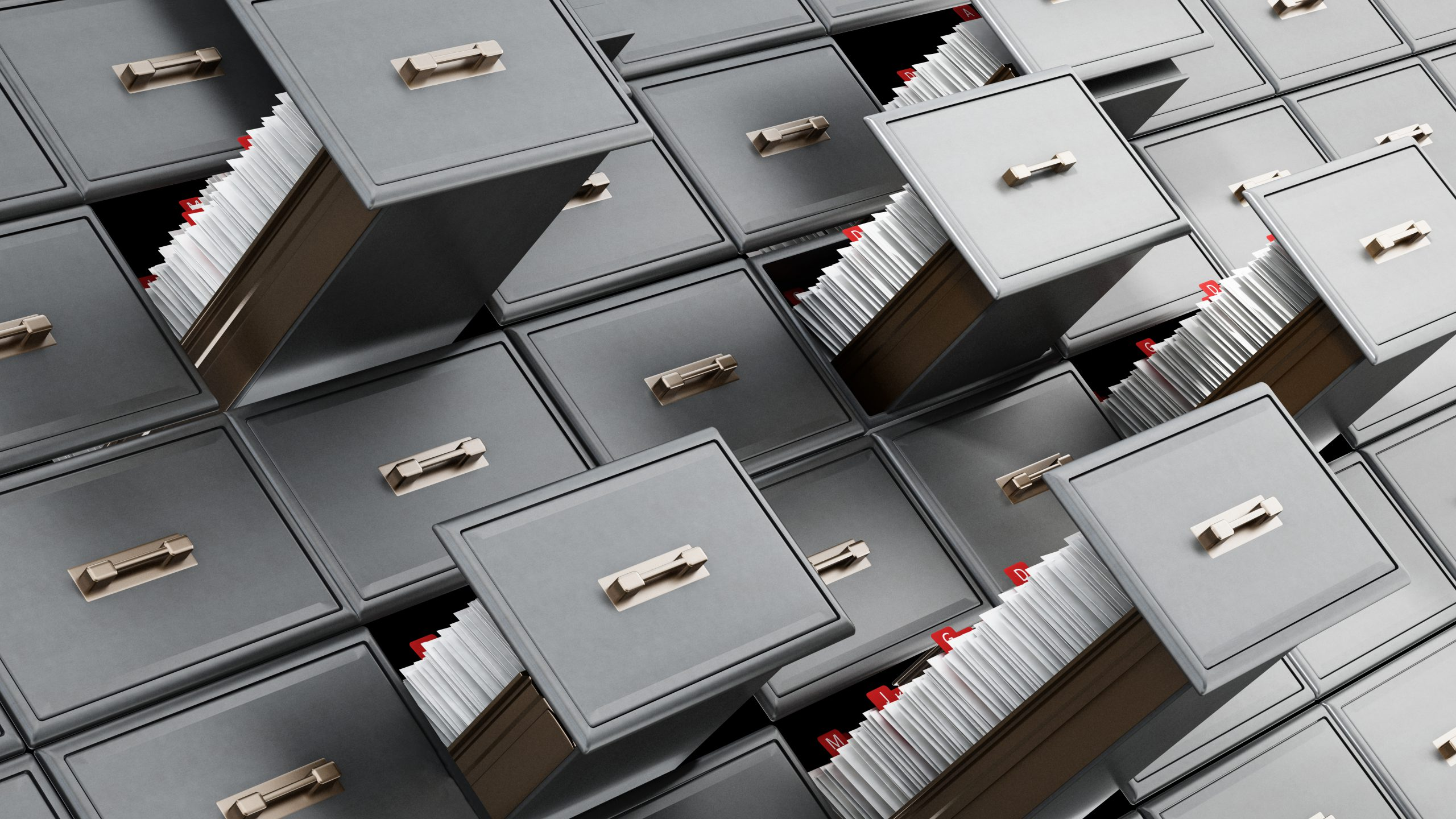 endless file cabinets with drawers open