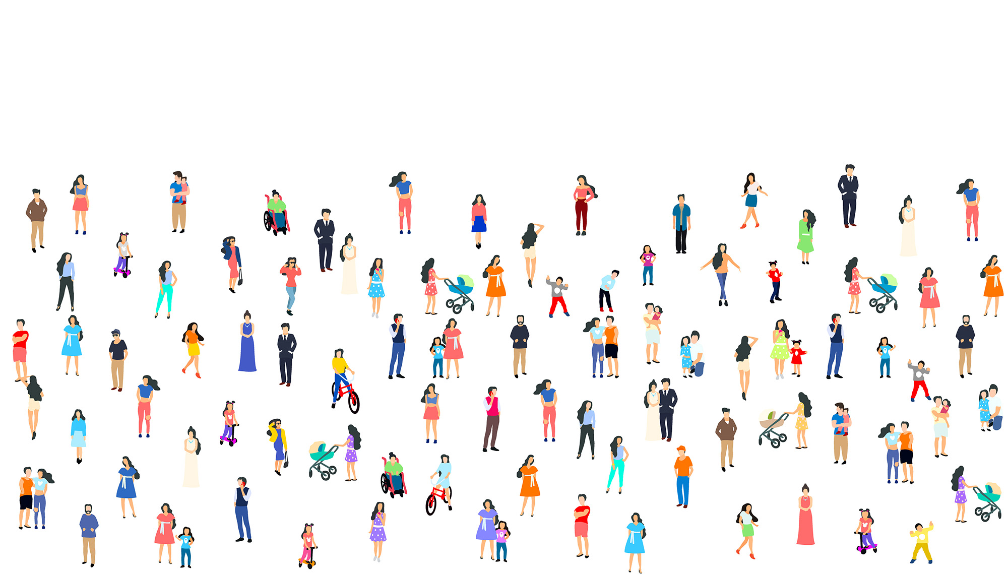 community of people on a white background