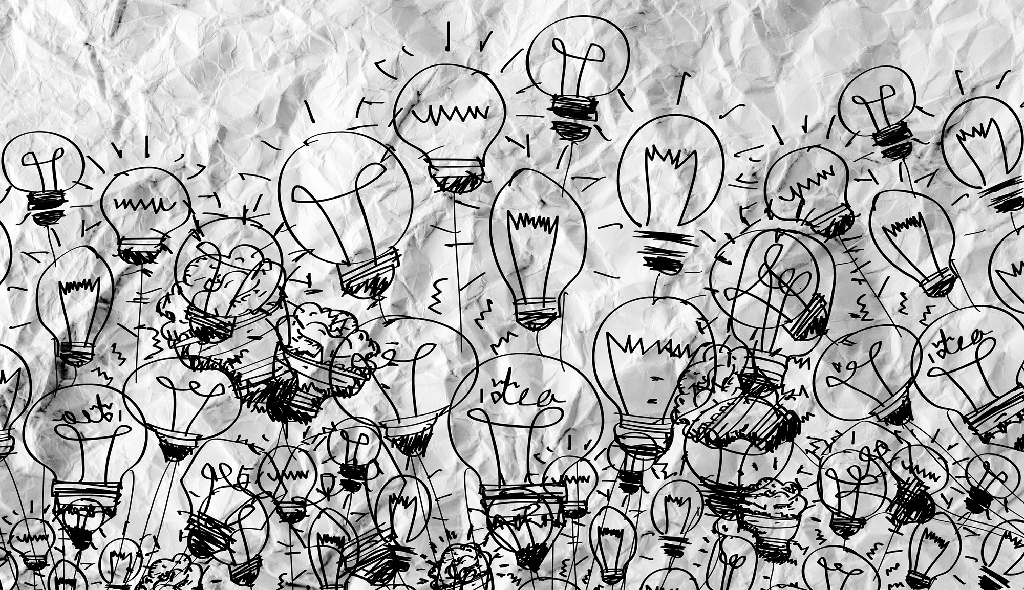 collage of light bulb drawings
