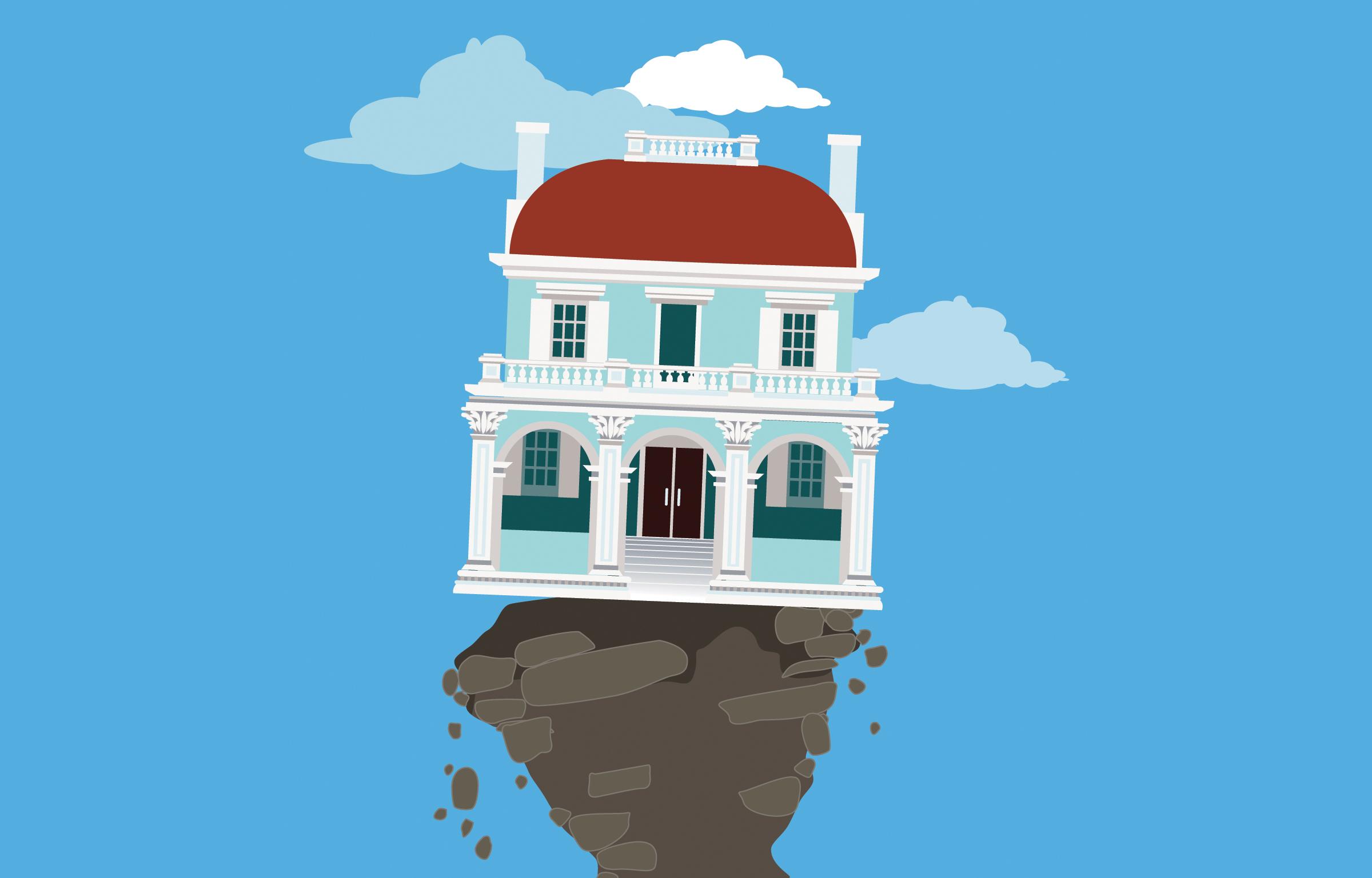 house balancing on crumbling ground
