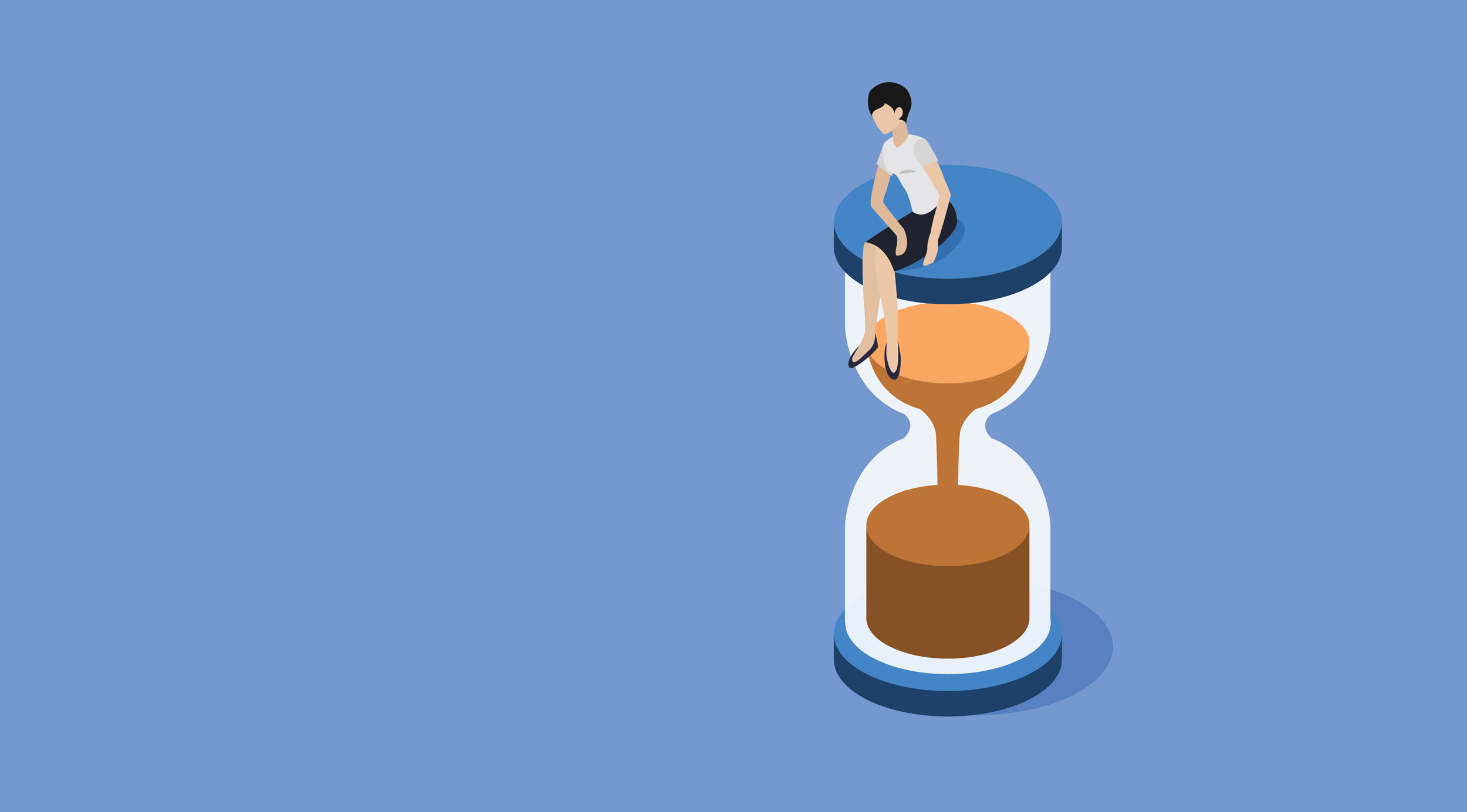 businesswoman sitting on hourglass